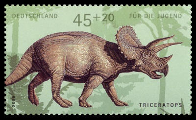 German postage stamp showing Triceratops